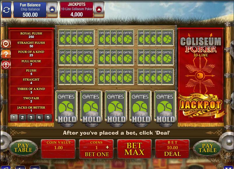 10-Line Coliseum Poker MCPcom Gamesos