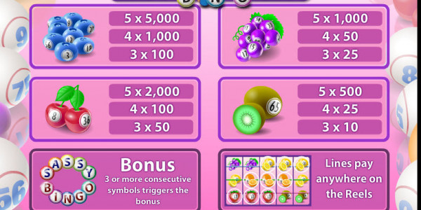 Sassy Bingo MCPcom Microgaming pay2