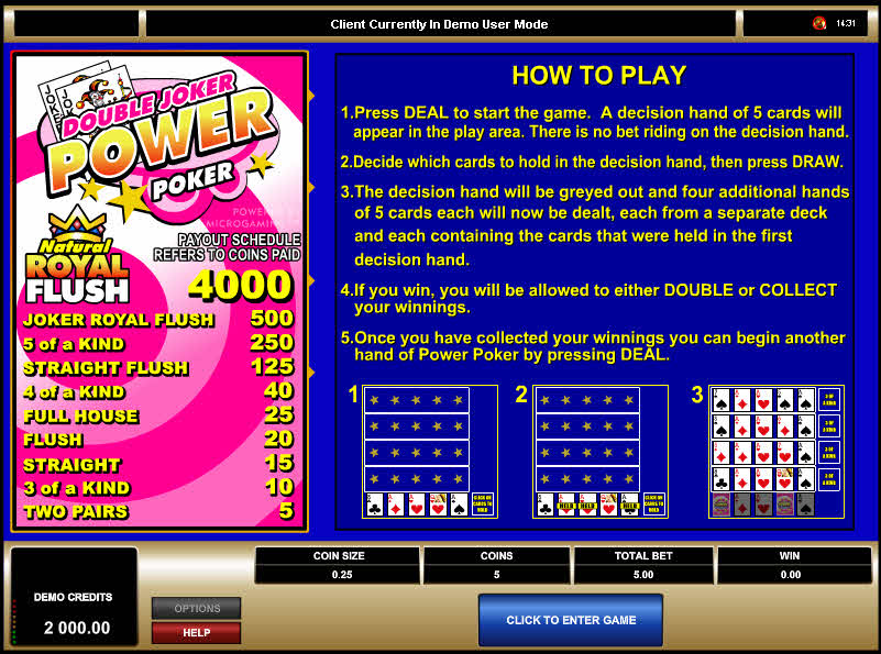 Double Joker 4 Play Power Poker MCPcom Microgaming