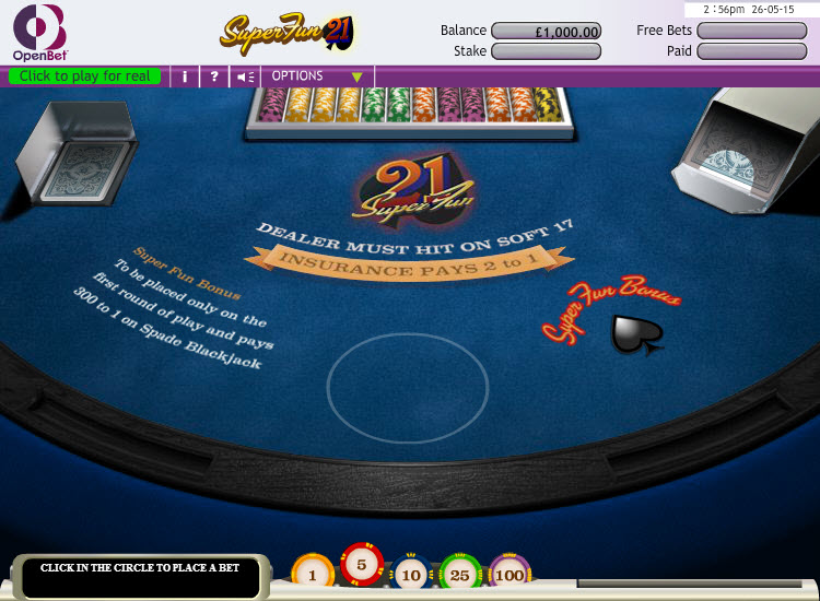 Blackjack Super Fun 21 MCPcom OpenBet