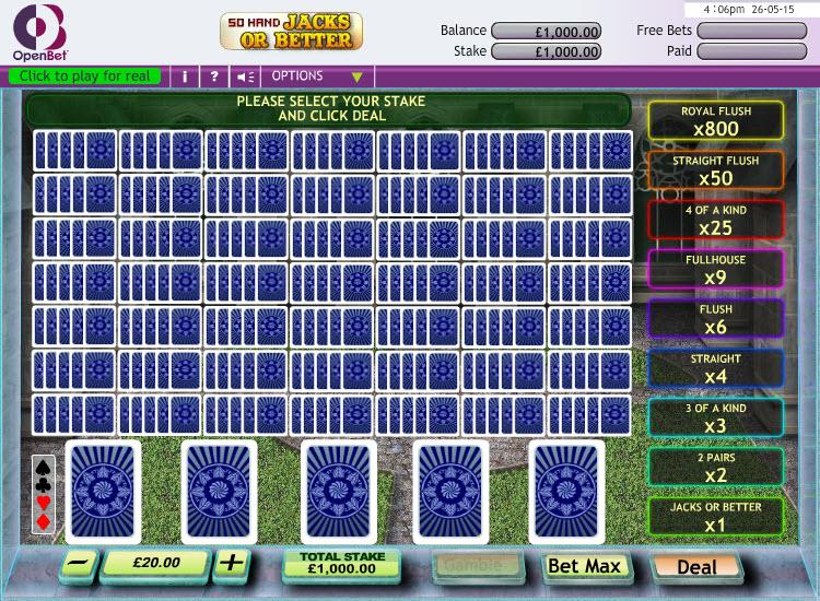 Jacks or Better 50 Hand MCPcom OpenBet