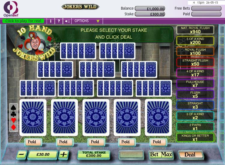 Jokers Wild 10 Hand MCPcom OpenBet
