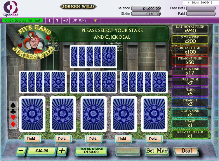 Jokers Wild 5 Hand MCPcom OpenBet