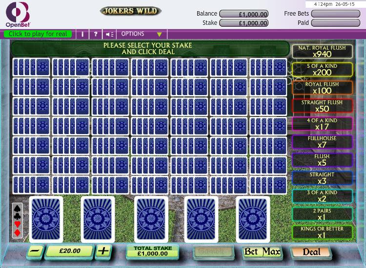 Jokers Wild 50 Hand MCPcom OpenBet