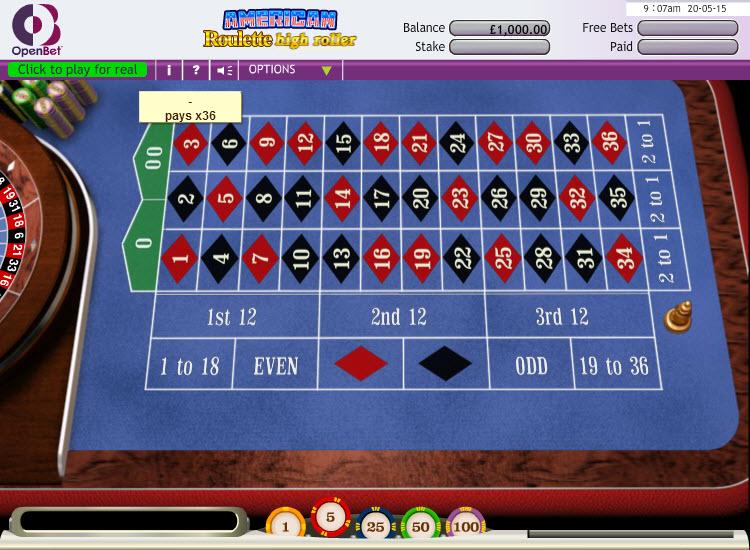 US Roulette Hi Roller MCPcom OpenBet
