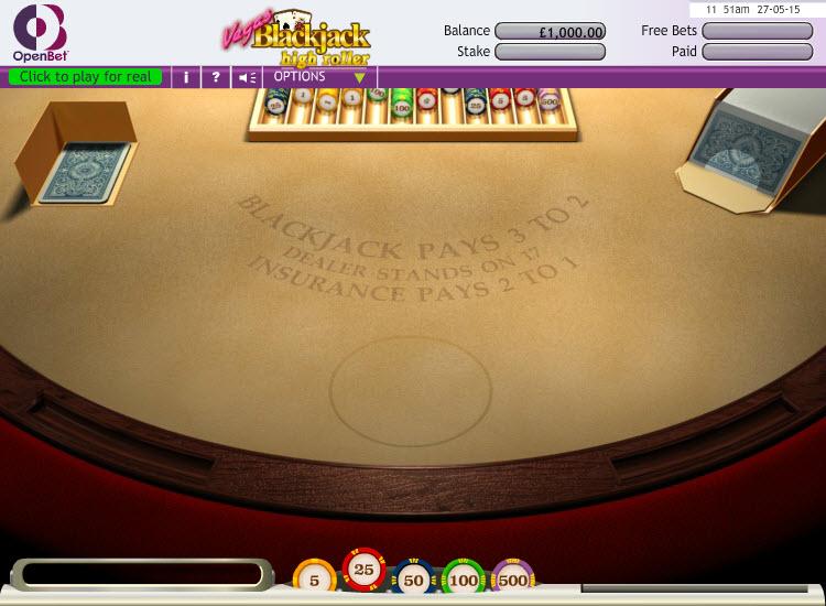 Blackjack Standard Hand Hi Roller MCPcom OpenBet
