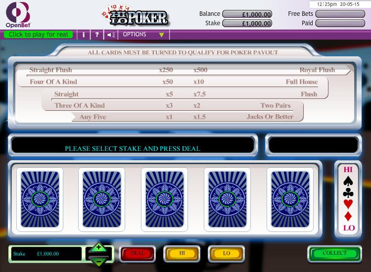 Hi Lo Poker MCPcom OpenBet