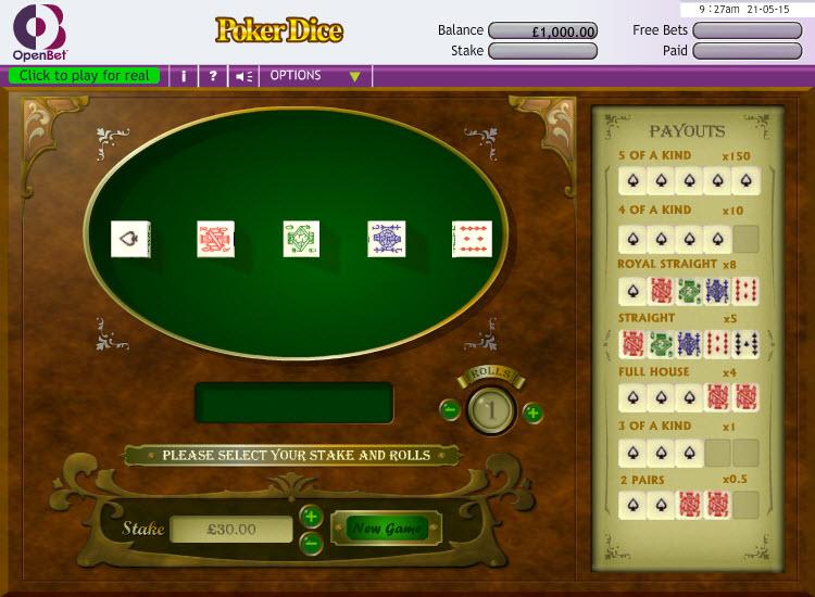 Poker Dice MCPcom OpenBet