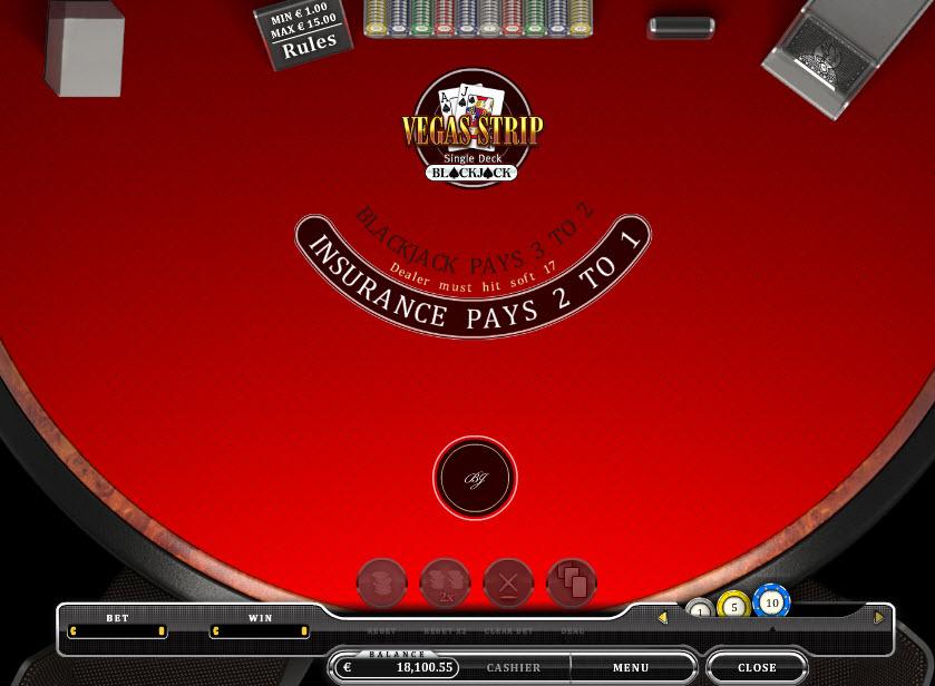 Single Deck Blackjack MCPcom Oryx Gaming
