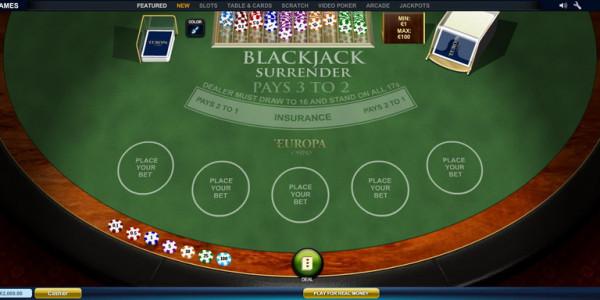 Blackjack Surrender Multihand 5 MCPcom Playtech