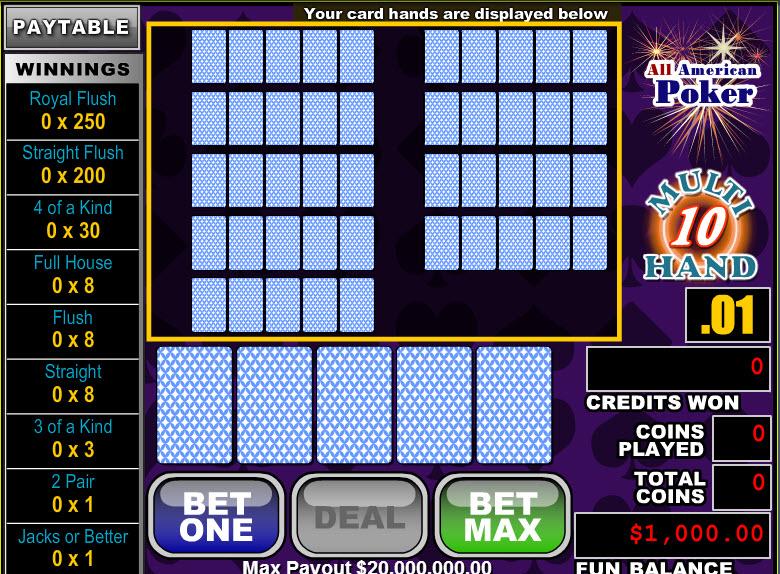 All American Poker 10 Hands MCPcom RTG