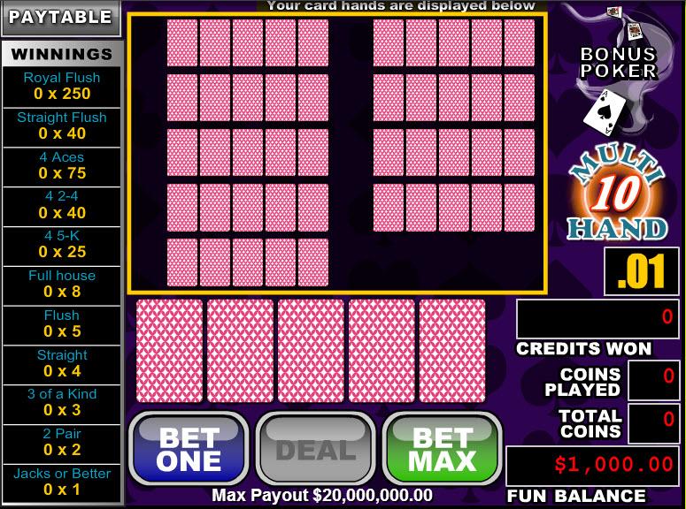 Bonus Poker 10 Hands MCPcom RTG