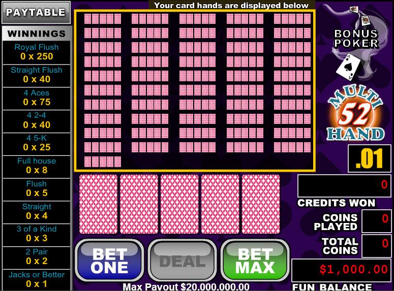 Bonus Poker 52 Hands MCPcom RTG