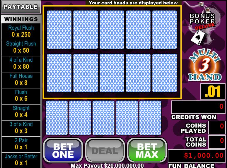 Bonus Poker Deluxe 3 Hands MCPcom RTG