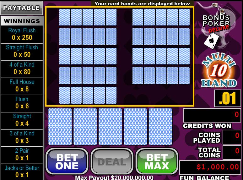 Bonus Poker Deluxe 10 Hands MCPcom RTG