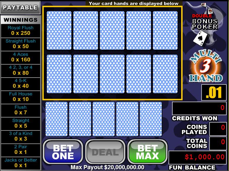 Double Bonus Poker 3 Hands MCPcom RTG