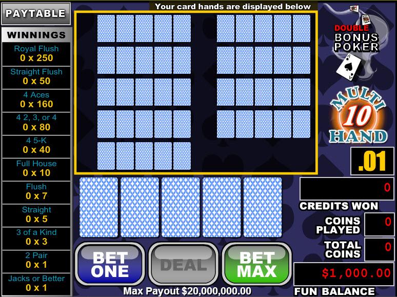 Double Bonus Poker 10 Hands MCPcom RTG