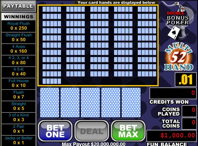 Double Bonus Poker 52 Hands MCPcom RTG
