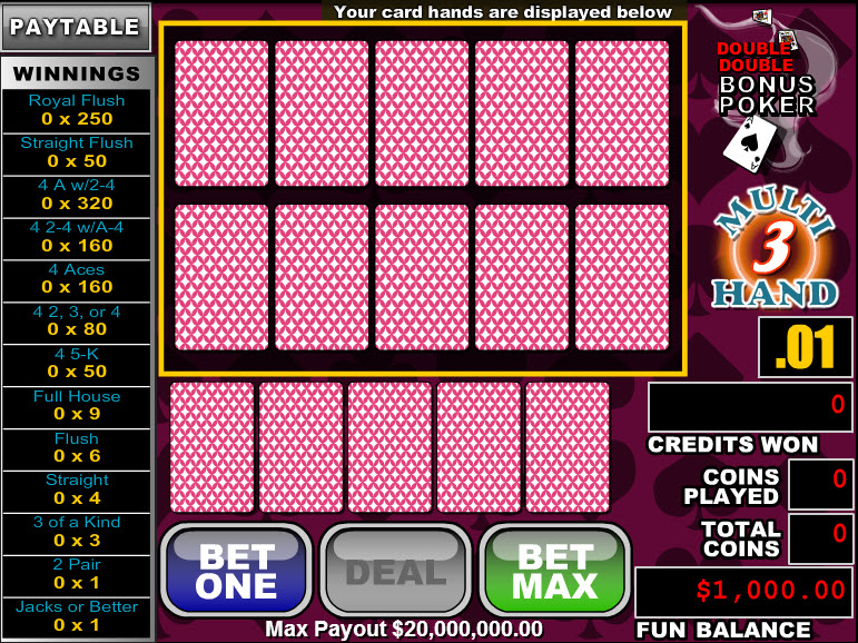 Double Double Bonus Poker 3 Hands MCPcom RTG