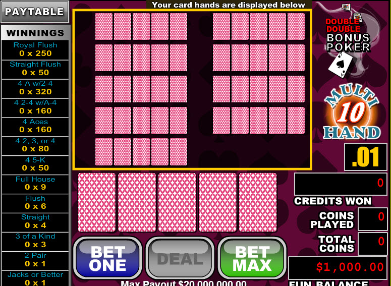 Double Double Bonus Poker 10 Hands MCPcom RTG