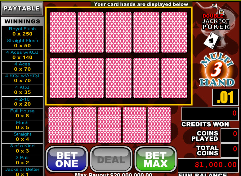 Double Jackpot Poker 3 Hands MCPcom RTG