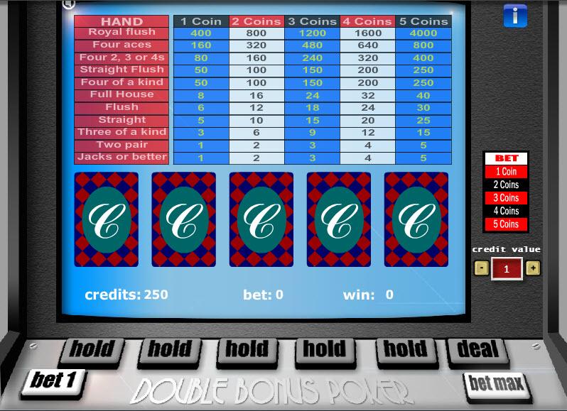 Bonus Poker – 1 Hand MCPcom Gaming and Gambling