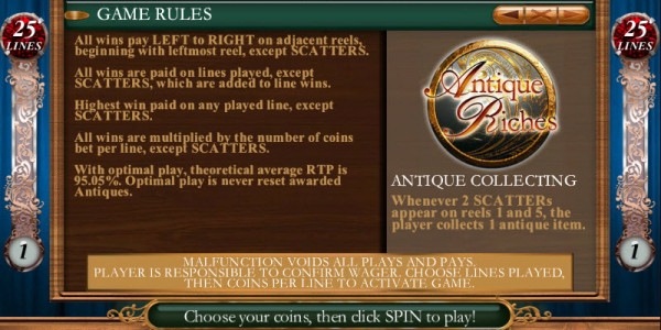 Antique Riches MCPcom Genesis Gaming pay