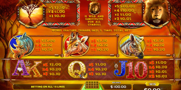 African Sunset Video Slots by GameArt MCPcom pay