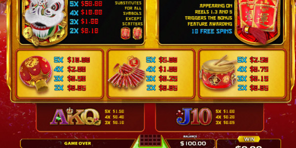 Dancing Lion Video Slots by GameArt MCPcom pay
