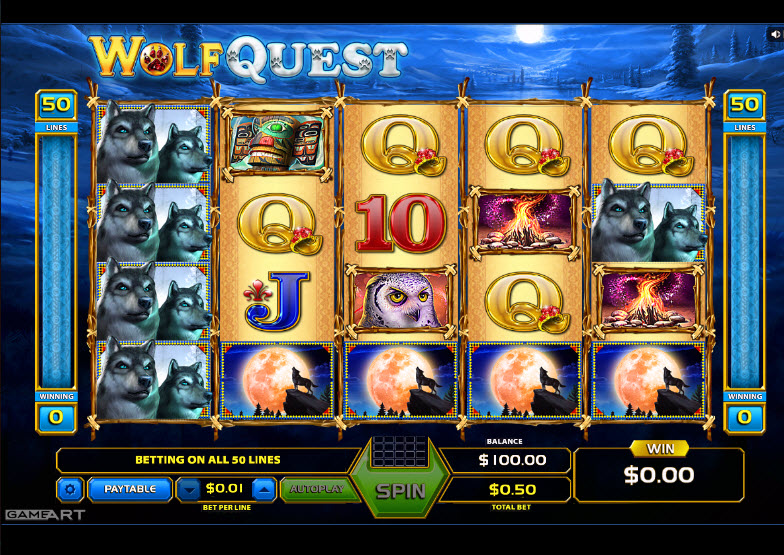 Wolf Quest Video Slots by GameArt MCPcom