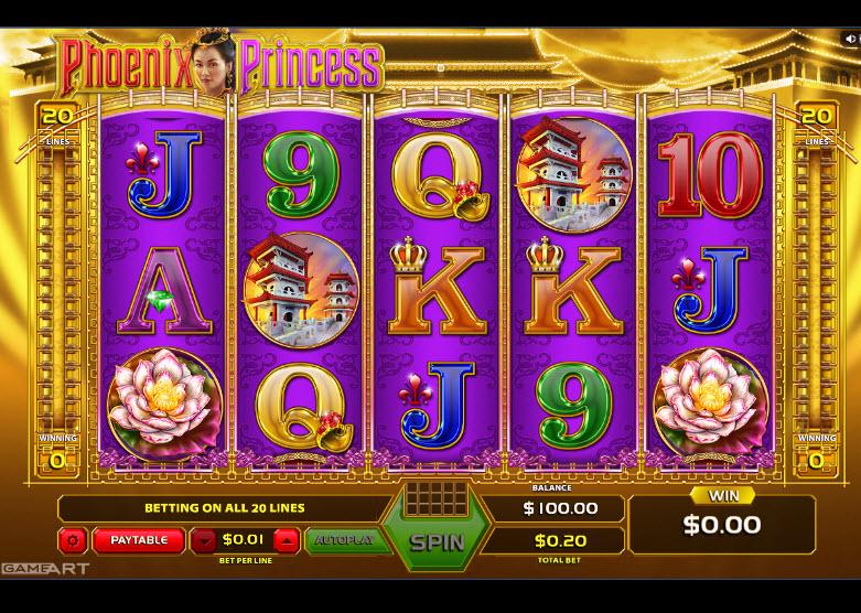 Phoenix Princess Video Slots by GameArt MCPcom