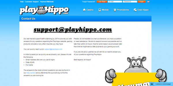 PlayHippo Casino MCPcom support