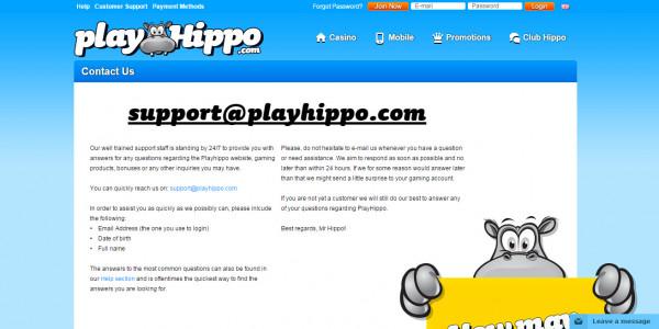 PlayHippo Casino MCPcom support