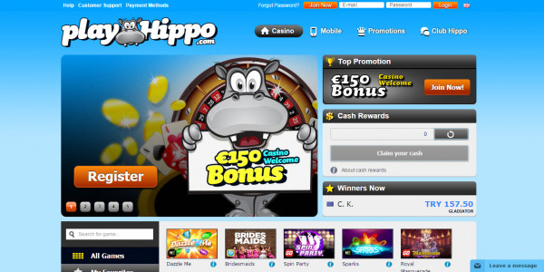 PlayHippo Casino MCPcom home
