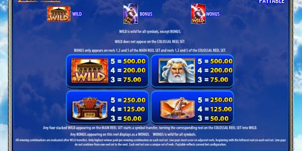 Zeus 1000 Video Slots by WMS MCPcom pay