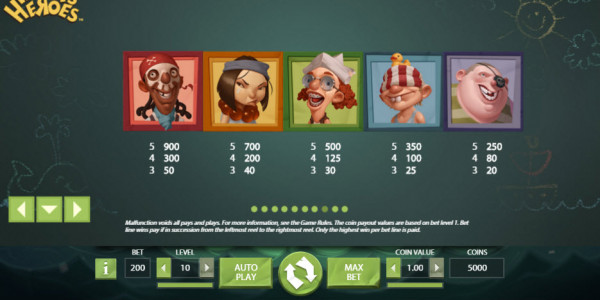 Hook's Heroes Video Slot by Netent MCPcom pay