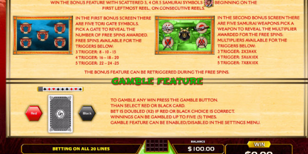 Bushido Code Video Slots by GameArt MCPcom pay2